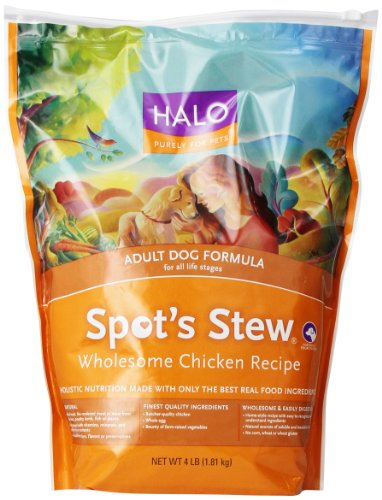 Halo Spot'S Stew Natural Dry Dog Food, Adult Dog, Wholesome Chicken Recipe, 4-Pound Bag