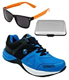 Spot On Men's Black Royal Blue Running Shoes With Lotto Sunglasses And Cardholder Combo UK-7