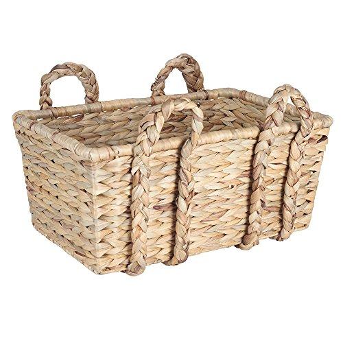 Household Essentials Large Rectangular Floor Storage Basket with Braided Handles, Light Brown (Basket Floor compare prices)