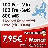 DeutschlandSIM SMART 100 EU [SIM und Micro-SIM] monatlich kündbar (300MB Daten-Flat, 100 Frei-Minuten, 100 Frei-SMS, 1 Monat Reisepaket Data, 7,95 Euro/Monat, 15ct Folgeminutenpreis) Vodafone-Netz