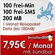 DeutschlandSIM SMART 100 EU [SIM und Micro-SIM] monatlich k�ndbar (300MB Daten-Flat, 100 Frei-Minuten, 100 Frei-SMS, 1 Monat Reisepaket Data, 7,95 Euro/Monat, 15ct Folgeminutenpreis) Vodafone-Netz