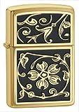 Zippo Gold Floral Flush Emblem Lighter
