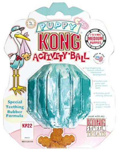 KONG Puppy Activity Ball Dog Toy, Small, Blue