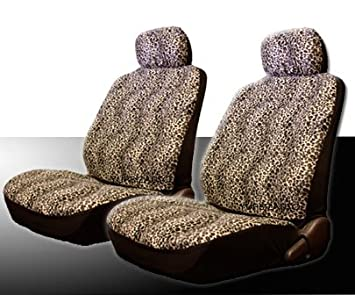New 16 Pieces Safari Cheetah Print Low Back Front Car Seat Covers Rear Bench Cover Belt Steering Wheel 4 Carpet Floor Mats And