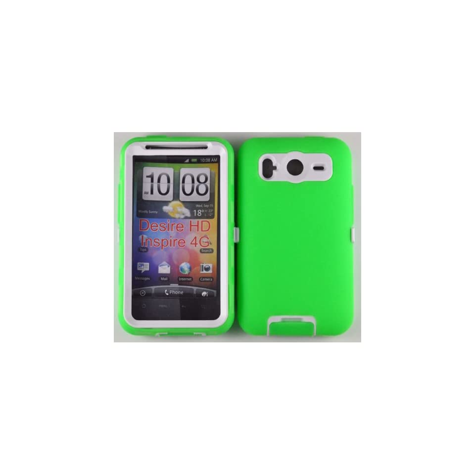 Hard Plastic Snap on Cover Fits HTC Inspire 4G Desire HD Armor Green White Hybrid Case (Outside Green Soft Silicone Skin, Inside Black Front and Back Hard Case) AT&T