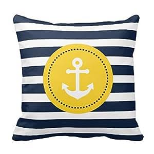 anchor couvre lit bleu taie d 39 oreiller pour canap blanc jaune ancre nautique housse de coussin. Black Bedroom Furniture Sets. Home Design Ideas
