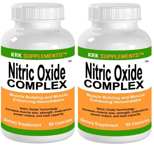2 Bottles Nitric Oxide Complex 3500Mg Per Serving No2 L-Arginine Hcl Aakg Akg Alpha Ketoglutarate Citrulline Malate 180 Total Capsules Krk Supplements