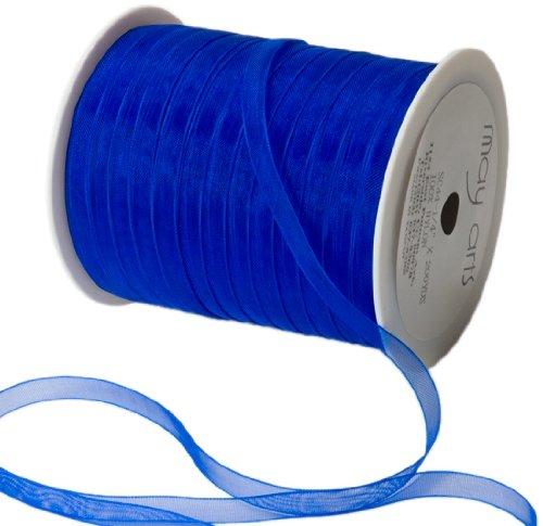 May Arts 1/4-Inch Wide Ribbon, Royal Blue Sheer