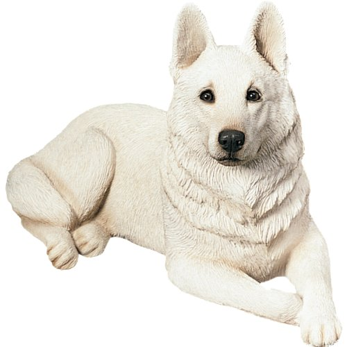 Sandicast Original Size White German Shepherd Sculpture, Lying (Resin Shepherd compare prices)