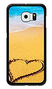 "Humor Gang Heart On Beach Sand Printed Designer Mobile Back Cover For ""Samsung Galaxy S6"" (3D, Glossy, Premium Quality Snap On Case)"