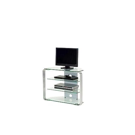 Jahnke CU-MR 100 LED KGL/AL GESCHL TV Rack, ESG Sicherheitsglas, Metall, klarglas / alu geschliffen, 85 x 40 x 65 cm