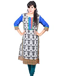Aakashi Dark Blue Printed Cotton Boat Neck 3/4th Sleeves Long Kurti