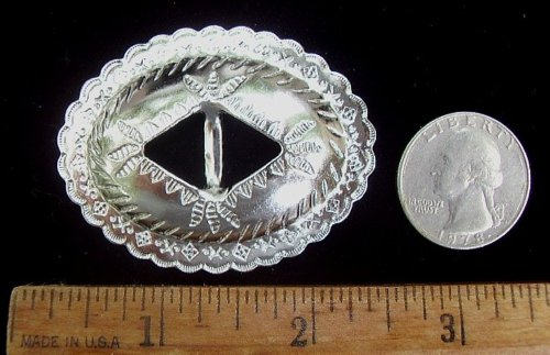 """Conchos 2"""" x 1 1/2"""" Oval Classic Western Design Silver 12 Pieces #50771"""