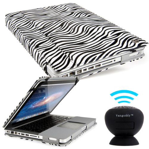 Vangoddy Laptop Mary - Pro City Book Portfolio Cover Case Black White Zebra Fits Apple Macbook Pro 13 Inch Retina Display + Black Mini Suction Bluetooth Speaker W/ Microphone