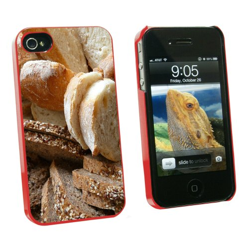 Bread - Loaf Rye Italian French - Snap On Hard Protective Case for Apple iPhone 4 4S - Red