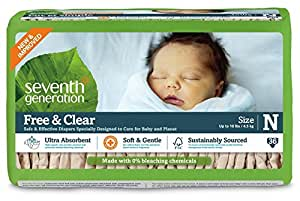 Seventh Generation Free and Clear Unbleached Baby Diapers for Newborn, 144 Count, Packaging May Vary