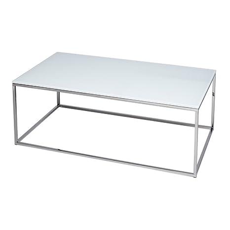 Gillmore Space Argento e vetro bianco contemporanea Tavolino rettangolare in metallo