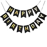 Black Golden Sparkle Happy Birthday Banner Signs Birthday Party Supplies for Birthday Party Decorations Baby Nursery Hanging Decor 13 Pieces (Color: Black+Gold)