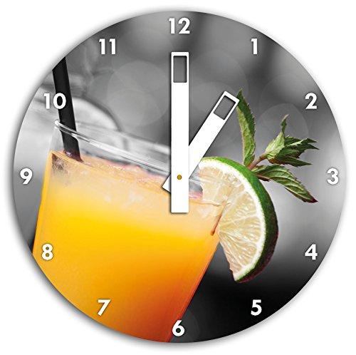 Délicieux fruité cocktail estival noir / blanc, 30cm de diamètre horloge murale avec du blanc au carré les mains et le visage, objets décoratifs, Designuhr, aluminium composite très agréable pour salon, bureau