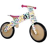 Kiddimoto Kids Kurve Middi Wooden Balance Bike - Pastel Dotty, 10-18 Inch