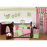 Funky Pink and Lime Green Olivia Boutique Baby Girl Bedding 9pc Crib Set