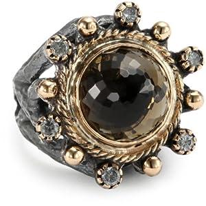 bora smoky quartz crown ring size 7