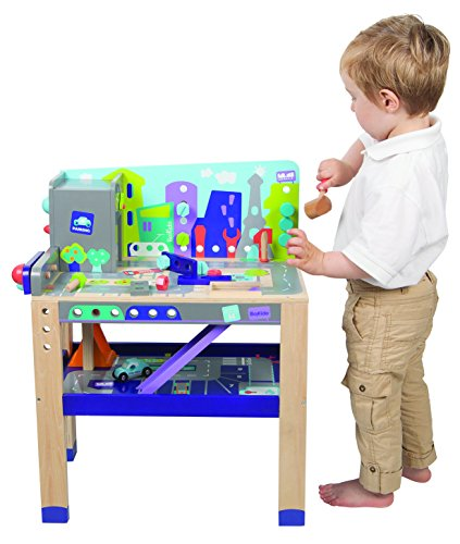 Boikido Wooden 2-in-1 Workbench Build & Drive Playset