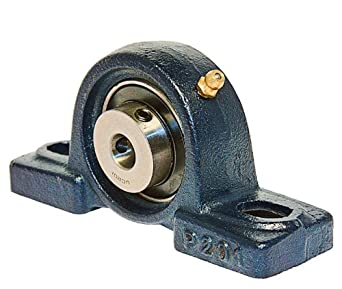 UCP201 Pillow Block Mounted Bearing, 2 Bolt, 12mm Inside Diameter, Set screw Lock, Cast Iron, Metric