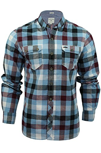 Mens Camicia a quadri di Lee Cooper 'Hadleigh' Maniche lunghe (Crepuscolo Blu) M