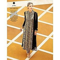 JJR Store Designer Black Net Embroidered Dress material