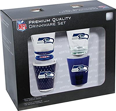NFL Seattle Seahawks Shot Glass Collector Set (4-Piece), 2-Ounce, Clear