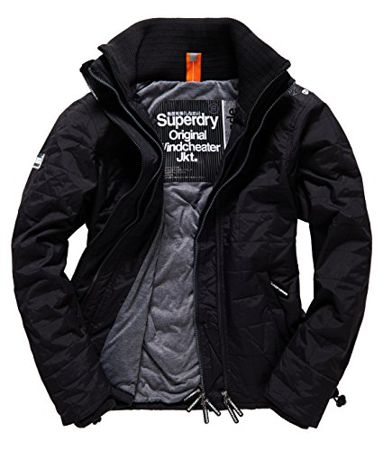 SUPERDRY Quilted Athletic Windcheater, Giacca Uomo, Black/Grey Marlnln, M