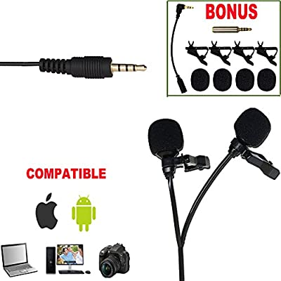 Premium 196 inches Dual-Head High Sensitivity Binaural Microphones With Free Windscreens,Removable Clips,Phone PC DSLR Adapter