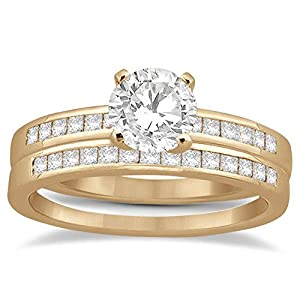 Traditional Classic Channel Princess Cut Diamond Engagement Ring Set 18k Rose Gold (0.15ct)