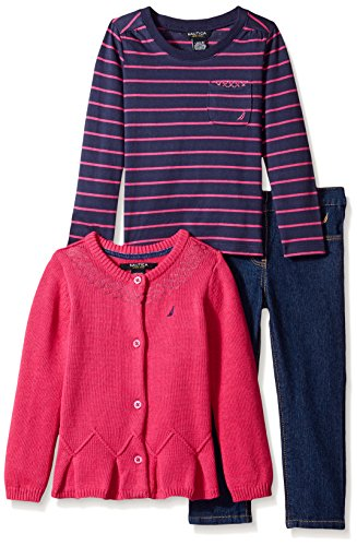 Nautica 19303155 3Pc Set - 7Gg Cotton Sweater with Sequin Details Yarn Dye Stripe Top and Denim Pant, Medium Pink, 2T