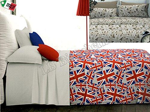 "Zambaiti - Parure Copripiumino Sacco Matrimoniale 2 Piazze ""London"" bandiera inglese, ROSSO-BLU"