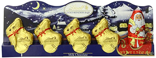 Lindt Milk Chocolate Santa and Reindeer Figure, 1.7 oz., (Pack of 6)