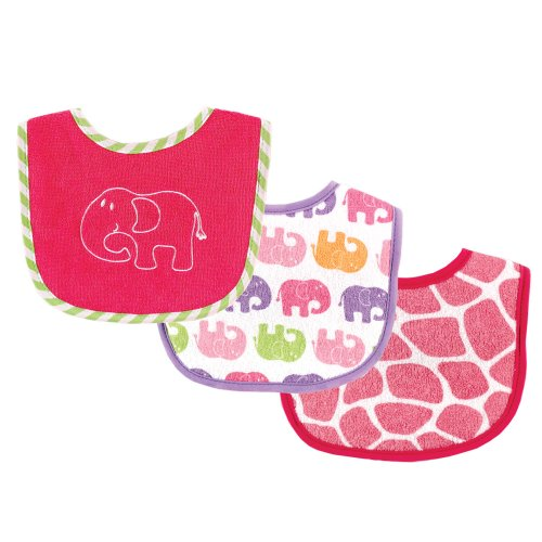 Luvable Friends Safari Themed Baby Drooler Bibs, Pink, 3-Count - 1