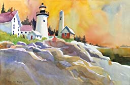 Pemaquid Light, Giclee Print of a Seascape Watercolor Painting, Picture of a Lighthouse in Maine During Sunset, 13 X 20 Inches