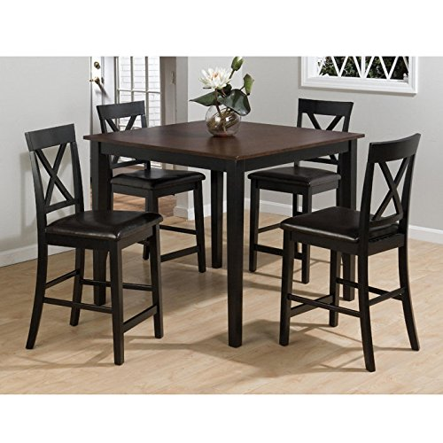 Burley 5-Pc Counter-Height Dining Set w/ Faux Leather Chairs by Jofran