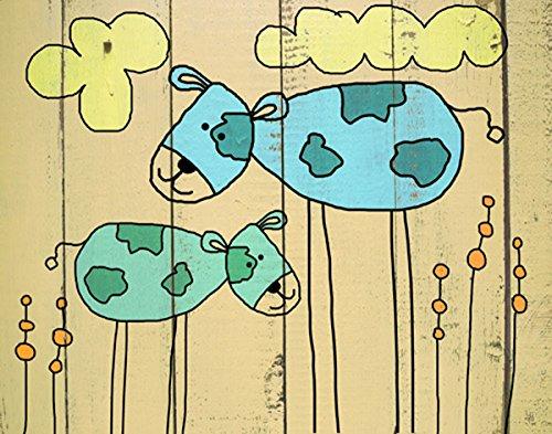 Green Leaf Art Dogs on Wood Canvas Art