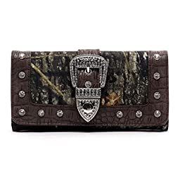 Mossy Oak Western Buckle Camouflage Womens Trifold Checkbook Wallet (MO/CF Coffee Brown)
