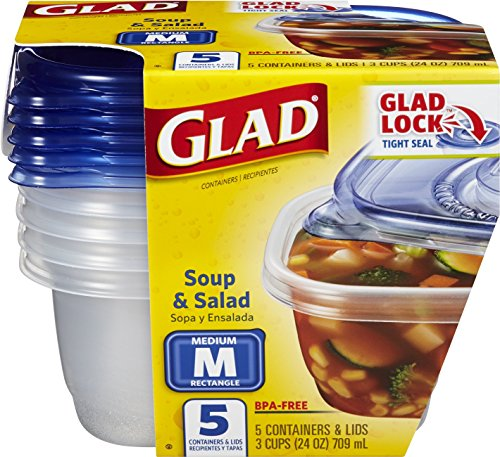 Glad Food Storage Containers, Soup and Salad, 24 Ounce, 5 Count (Pack of 6) (Glad Storage compare prices)