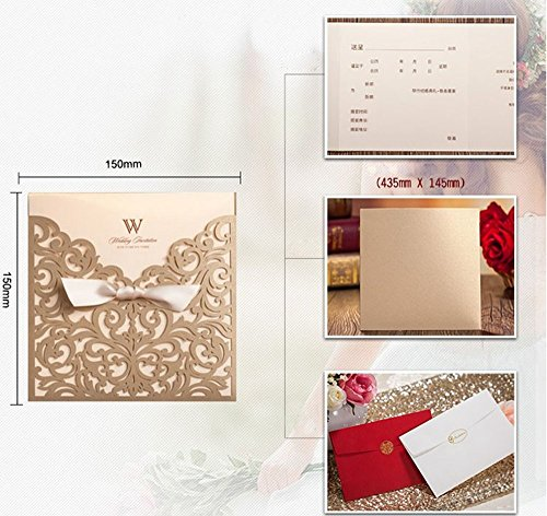 product detail square gold laser lace wedding