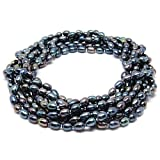 "HinsonGayle AAA Handpicked 5.5-6mm Multicolor Black Oval Freshwater Cultured Pearl Rope 100"" Necklace"