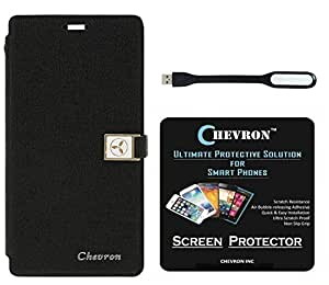 Chevron Royal Armour Flip Cover With Stand Mode for Microsoft Lumia 535 with HD Screen Guard & Mini USB LED Light Lamp (Black)