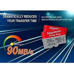 Gigastone 256GB MicroSD Card A1 V10 UHS-I U1 Class 10 SDXC Memory Card with SD Adapter High Speed Full HD Video Nintendo Dashcam GoPro Camera Samsung Canon Nikon DJI Drone (Tamaño: 256GB)