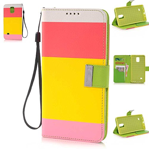 Nancy'S Shop Stand Case For Samsung Galaxy Note 4 Deego Colorful Wallet Pu Leather Credit Card Holder Pouch Case Cover For Samsung Galaxy Note 4 Iv (Colorful Wallet Case Rose Red/Yellow/Pink Nancy'S Shop Case)