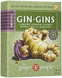 The Ginger People Gin Gins Chewy Ginger Candy, Travel Pack, 1.6 oz, 24 ct