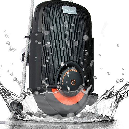 LuguLake 防水耐衝撃Bluetoothシャワースピーカー 充電式ポータブルワイヤレスステレオスピーカー  吸盤付 内臓マイク ハンズフリー通話 お風呂場、バスルーム、プール、ボート、車、キッチン、ビーチ、アウトドア適用 iPhone/ iPad / Androidスマートフォン対応(SOUL(ブラック))